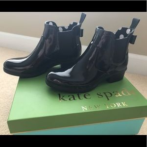 New In Box! Kate Spade Black Telly Rain Boots 7M